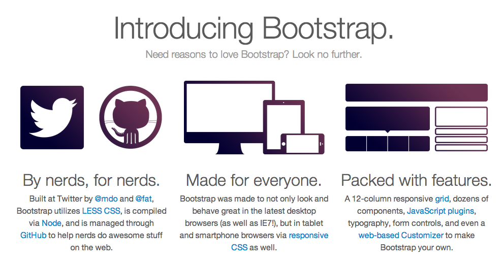 Some of Bootstrap's selling points.